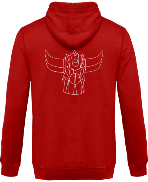 Sweat Shirt Zippé Capuche Goldorak Mono – Fire Red – Dos