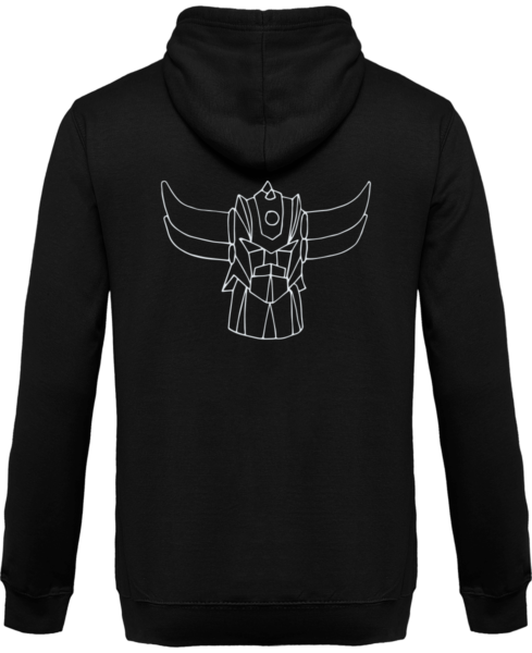 Sweat Shirt Zippé Capuche Goldorak Mono – Jet Black – Dos