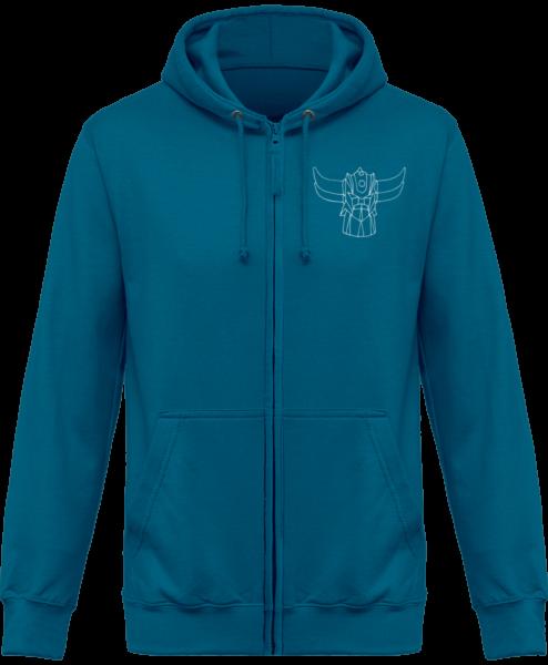 Sweat Shirt Zippé Capuche Goldorak Mono – Sapphire Blue – Face