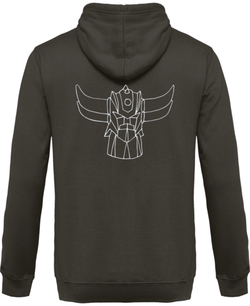 Sweat Shirt Zippé Capuche Goldorak Mono – Steel Grey – Dos