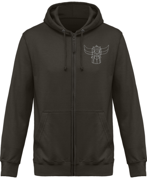 Sweat Shirt Zippé Capuche Goldorak Mono – Steel Grey – Face