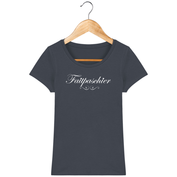 T-Shirt Femme Faitpaschier India Ink Grey Face avant