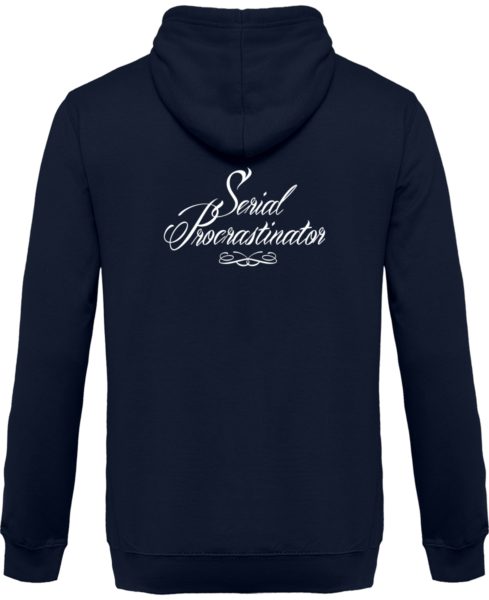 Veste Zippé Capuche Serial Procrastinator – New French Navy – Dos