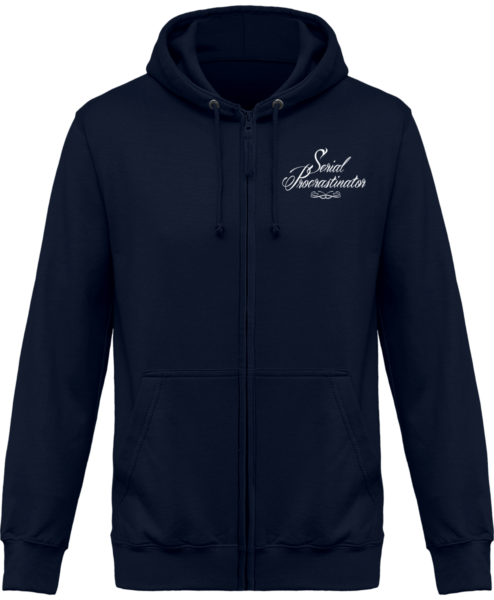 Veste Zippé Capuche Serial Procrastinator – New French Navy – Face