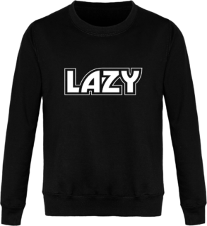 Sweat Col Rond Unisexe LAZY - Jet Black - Face avant
