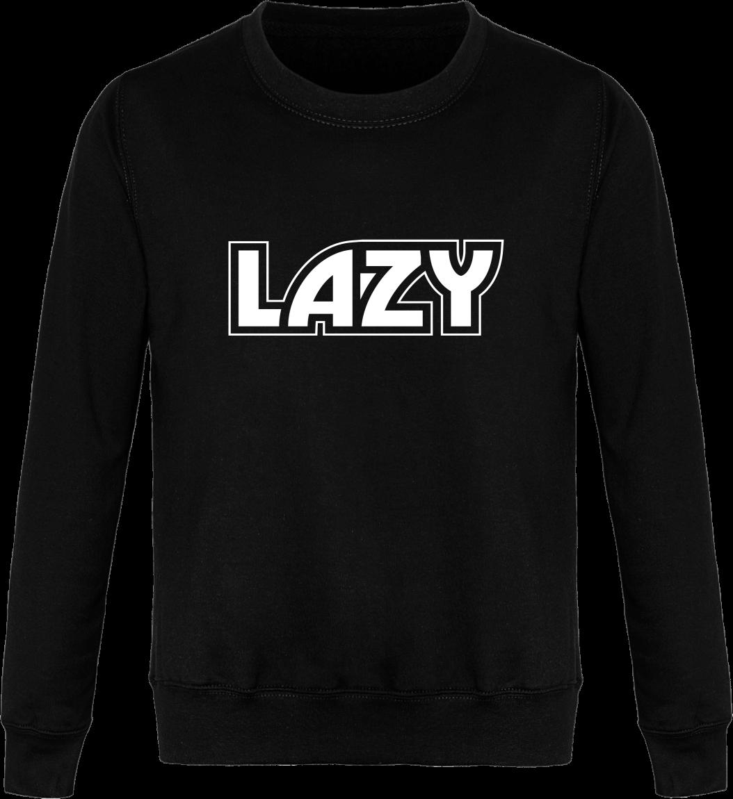 Sweat Col Rond Unisexe LAZY – Jet Black – Face avant