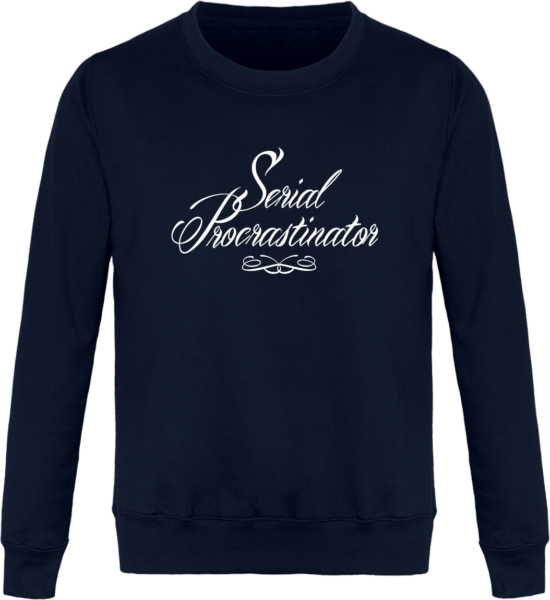 Sweat Col Rond Unisexe Serial Procrastinator New French Navy