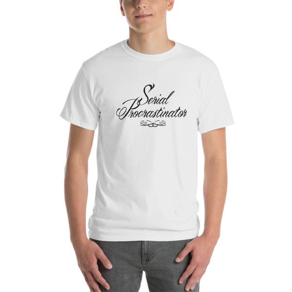 T-shirt large Serial Procratinator blanc