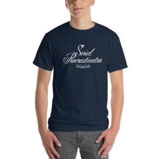 T-shirt large Serial Procratinator bleu marine