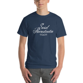 T-shirt large Serial Procratinator bleu moyen