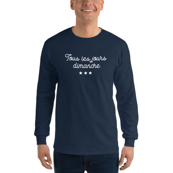 T-shirts originaux Manches longues Tous les jours Dimanche Bleu