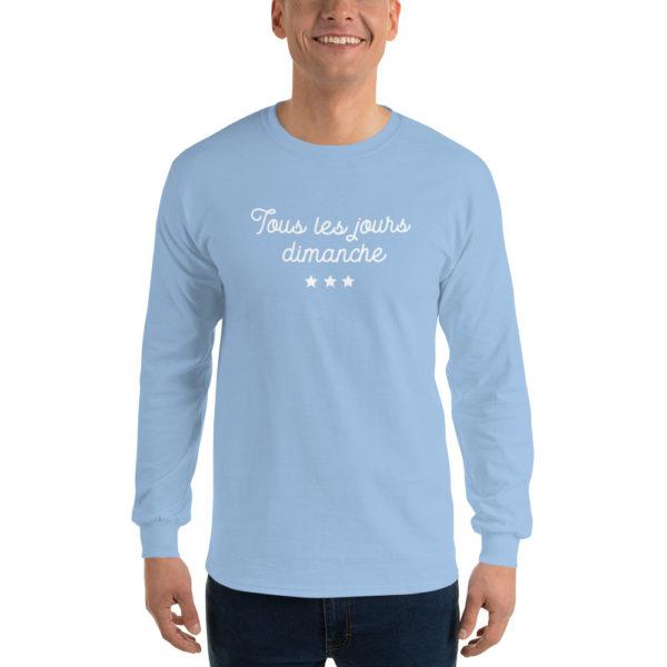 T-shirts originaux Manches longues Tous les jours Dimanche Bleu ciel
