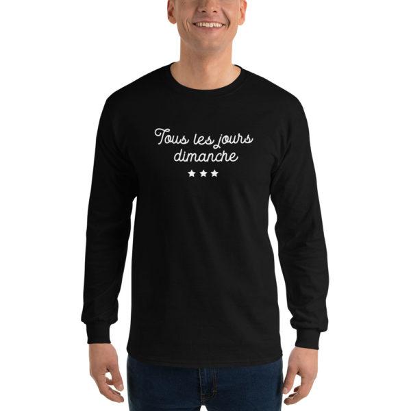 T-shirt original Manches longues Tous les jours Dimanche Noir