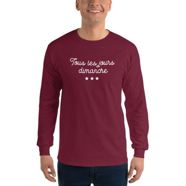 T-shirts originaux Manches longues Tous les jours Dimanche Prune
