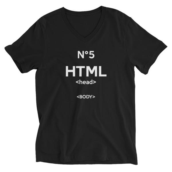 Tee-shirt homme col V HTML5 noir