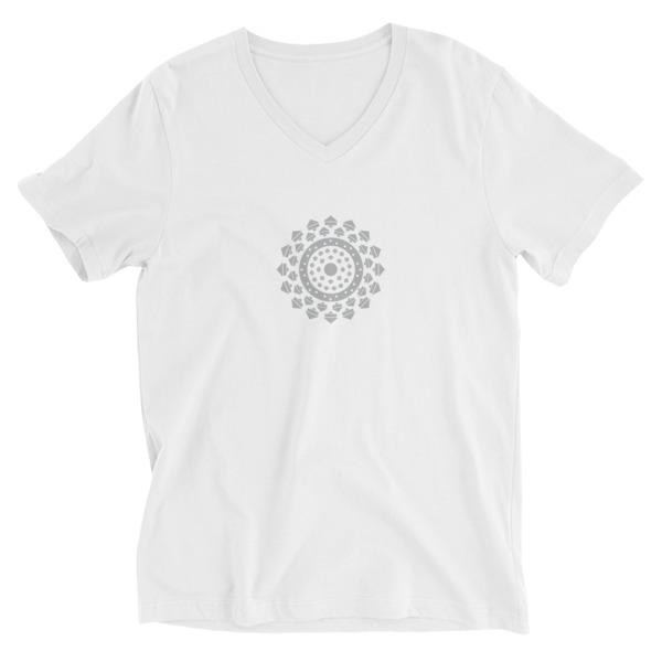 Tee-shirt Homme col V Mandala blanc