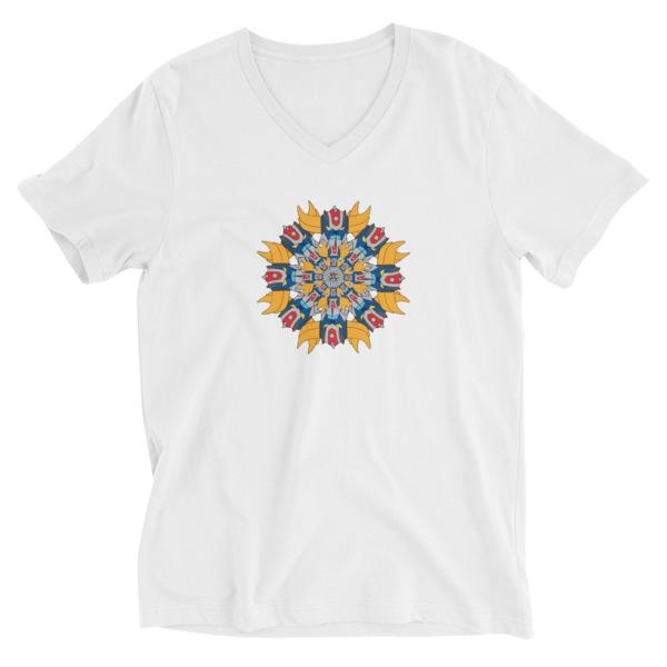 Tee-shirt homme col V Mandala goldo blanc