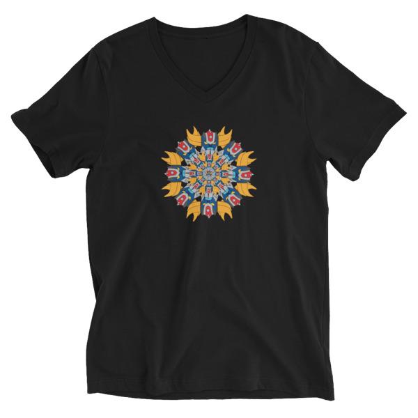 Tee-shirt homme col V Mandala goldo noir