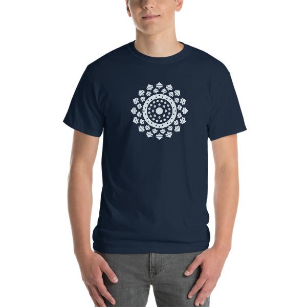 tshirt large Mandala bleu marine